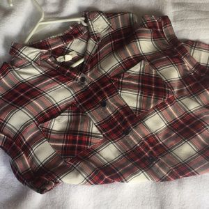 Tops - Short sleeve flannel tunic top